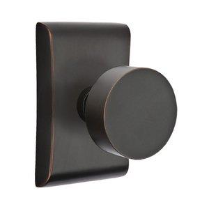 Emtek Hardware Passage Round Door Knob With Neos Rose in Oil Rubbed Bronze