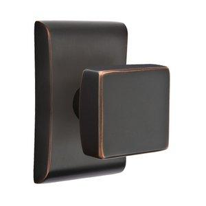 Emtek Hardware Passage Square Door Knob With Neos Rose in Oil Rubbed Bronze