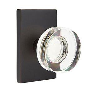 Emtek Hardware Modern Disc Crystal Passage Door Knob with Modern Rectangular Rose in Oil Rubbed Bronze