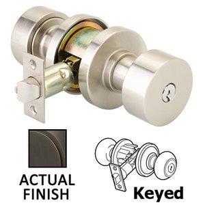 Emtek Hardware Keyed Round Knob With Disk Rose in Oil Rubbed Bronze