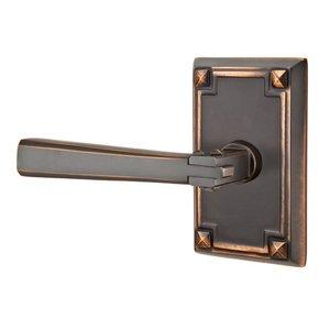 Emtek Hardware Left Handed Privacy Arts & Crafts Door Lever with Arts & Crafts Rose in Oil Rubbed Bronze