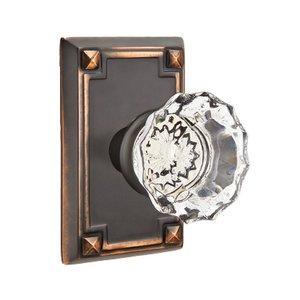 Emtek Hardware Astoria Privacy Door Knob with Arts & Crafts Rectangular Rose in Oil Rubbed Bronze