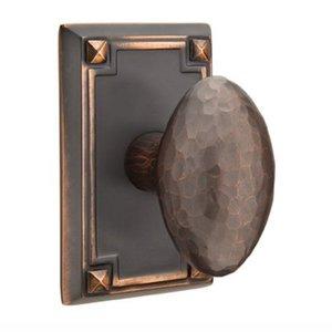 Emtek Hardware Privacy Hammered Egg Door Knob with Arts & Crafts Rectangular Rose in Oil Rubbed Bronze