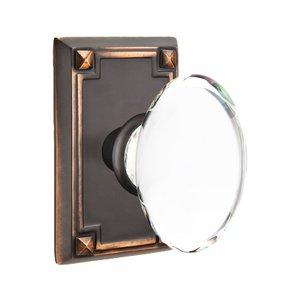 Emtek Hardware Hampton Privacy Door Knob with Arts & Crafts Rectangular Rose in Oil Rubbed Bronze