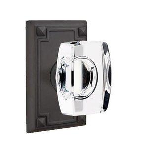 Emtek Hardware Windsor Privacy Door Knob and Arts & Crafts Rectangular Rose with Concealed Screws in Flat Black