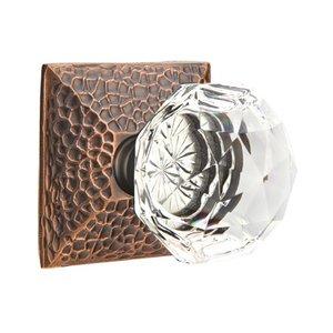 Emtek Hardware Diamond Privacy Door Knob with Hammered Rose in Oil Rubbed Bronze