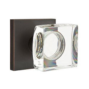Emtek Hardware Modern Square Crystal Privacy Door Knob with Square Rose in Oil Rubbed Bronze