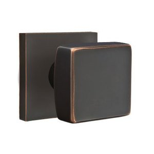Emtek Hardware Privacy Square Door Knob With Square Rose in Oil Rubbed Bronze