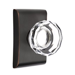 Emtek Hardware Lowell Privacy Door Knob with Neos Rose in Oil Rubbed Bronze