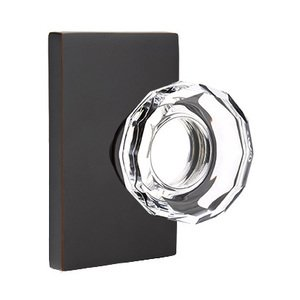 Emtek Hardware Lowell Privacy Door Knob with Modern Rectangular Rose in Oil Rubbed Bronze