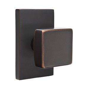 Emtek Hardware Privacy Square Door Knob With Modern Rectangular Rose in Oil Rubbed Bronze