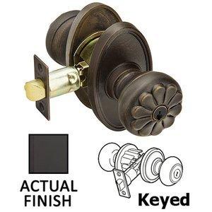 Emtek Hardware Keyed Petal Knob With #14 Rose in Flat Black Bronze
