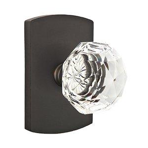 Emtek Hardware Diamond Double Dummy Door Knob with #4 Rose in Flat Black Bronze