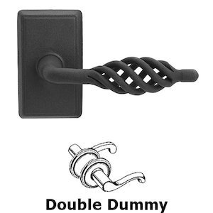 Emtek Hardware Double Dummy Lafayette Lever With #3 Rose in Flat Black Steel