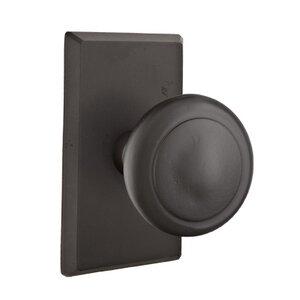 Emtek Hardware Passage Butte Knob With #3 Rose in Flat Black Bronze