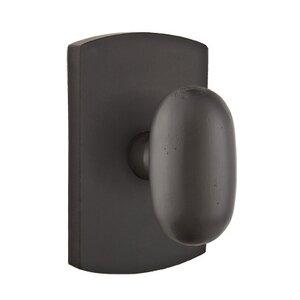 Emtek Hardware Privacy Egg Knob With #4 Rose in Flat Black Bronze