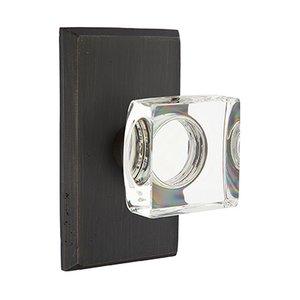Emtek Hardware Modern Square Crystal Privacy Door Knob with #3 Rose in Medium Bronze