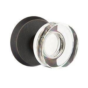 Emtek Hardware Modern Disc Crystal Privacy Door Knob with #2 Rose in Medium Bronze