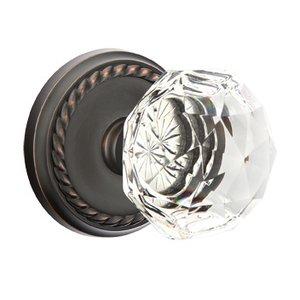 Emtek Hardware Diamond Double Dummy Door Knob with Rope Rose in Oil Rubbed Bronze