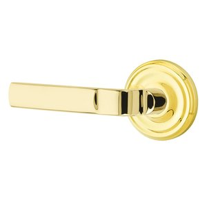Emtek Hardware Privacy Aston Left Handed Lever with Regular Rose in Unlacquered Brass