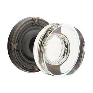 Emtek Hardware Modern Disc Crystal Privacy Door Knob with Ribbon & Reed Rose in Oil Rubbed Bronze