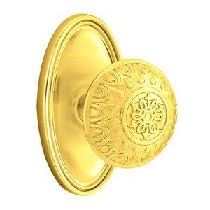 Emtek Hardware Privacy Lancaster Knob With Oval Rose in Polished Brass