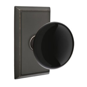 Emtek Hardware Privacy Ebony Knob With Rectangular Rosette in Oil Rubbed Bronze