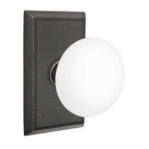 Emtek Hardware Privacy Ice White Knob With Rectangular Rosette in Oil Rubbed Bronze