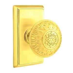 Emtek Hardware Privacy Lancaster Knob With Rectangular Rose in Polished Brass