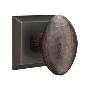 Emtek Hardware Privacy Modern Hammered Egg Door Knob with Quincy Rose in Oil Rubbed Bronze