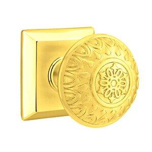 Emtek Hardware Privacy Lancaster Knob With Quincy Rose in Polished Brass