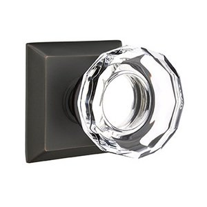 Emtek Hardware Lowell Privacy Door Knob with Quincy Rose in Oil Rubbed Bronze