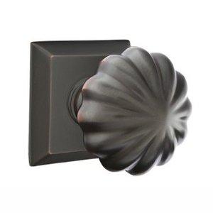 Emtek Hardware Privacy Melon Door Knob With Quincy Rose in Oil Rubbed Bronze