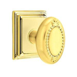 Emtek Hardware Privacy Beaded Egg Knob With Wilshire Rose in Polished Brass