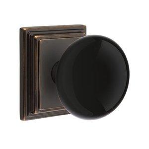 Emtek Hardware Privacy Ebony Knob With Wilshire Rosette in Oil Rubbed Bronze