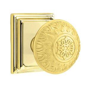 Emtek Hardware Privacy Lancaster Knob With Wilshire Rose in Polished Brass