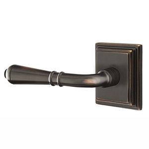 Emtek Hardware Privacy Left Handed Turino Door Lever With Wilshire Rose in Oil Rubbed Bronze