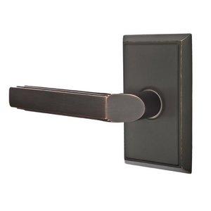 Emtek Hardware Double Dummy Left Handed Milano Door Lever With Rectangular Rose in Oil Rubbed Bronze