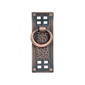 "Emtek Hardware 1 1/2"" Centers Hammered Vertical Ring Pull in Oil Rubbed Bronze"