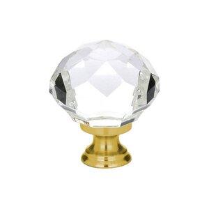 "Emtek Hardware 1 3/4"" Diameter Diamond Knob in Satin Brass"
