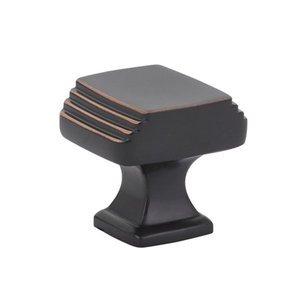 "Emtek Hardware 1 1/4"" Long Art Deco Knob in Oil Rubbed Bronze"