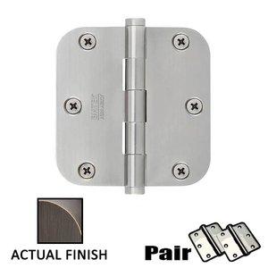 "Emtek Hardware 3-1/2"" X 3-1/2"" 5/8"" Radius Steel Residential Duty Hinge in Medium Bronze"