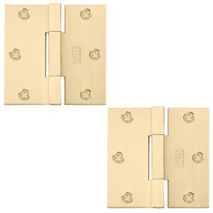 "Emtek Hardware 3 1/2"" x 3 1/2"" Square Solid Brass Heavy Duty Square Barrel Hinges (Pair) in Satin Brass"