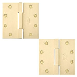 "Emtek Hardware 4 1/2"" x 4 1/2"" Square Solid Brass Heavy Duty Square Barrel Hinges in Satin Brass"