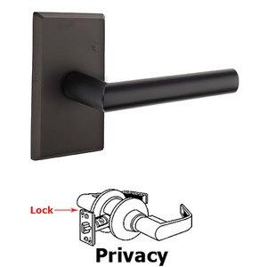 Emtek Hardware Privacy Mariposa Left Handed Lever with #3 Rose and Concealed Screws in Flat Black Bronze