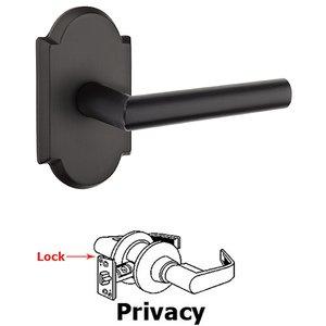 Emtek Hardware Privacy Mariposa Left Handed Lever with #1 Rose and Concealed Screws in Flat Black Bronze
