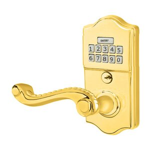 Emtek Hardware Rope Left Hand Classic Lever with Electronic Keypad Lock in Polished Brass
