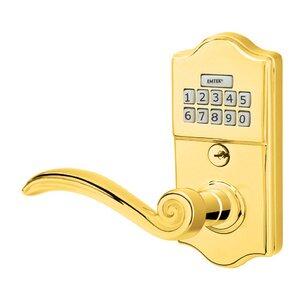 Emtek Hardware Elan Left Hand Classic Lever Storeroom Electronic Keypad Lock in Polished Brass