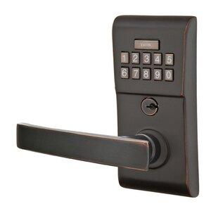 Emtek Hardware Geneva Left Hand Modern Lever Storeroom Electronic Keypad Lock in Oil Rubbed Bronze