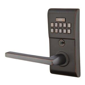 Emtek Hardware Helios Left Hand Modern Lever Storeroom Electronic Keypad Lock in Oil Rubbed Bronze
